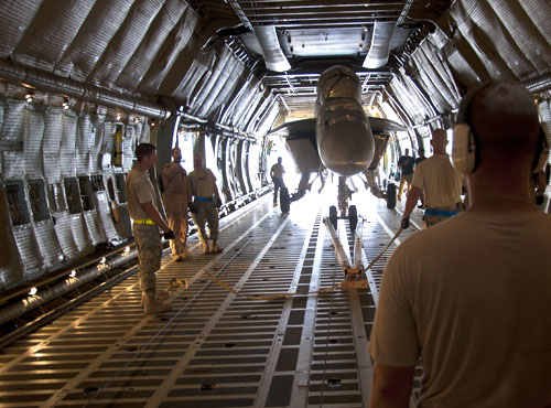 Kandahar crews load F/A-18 onto C-5